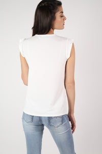 Fluted Cap Sleeve Top in Cream 3