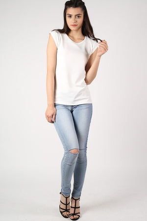 Fluted Cap Sleeve Top in Cream 4