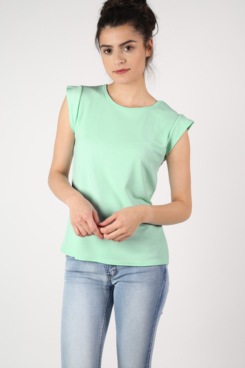 Fluted Cap Sleeve Top in Mint Green 0