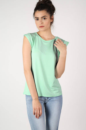 Fluted Cap Sleeve Top in Mint Green 1