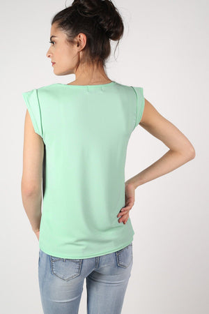 Fluted Cap Sleeve Top in Mint Green 3