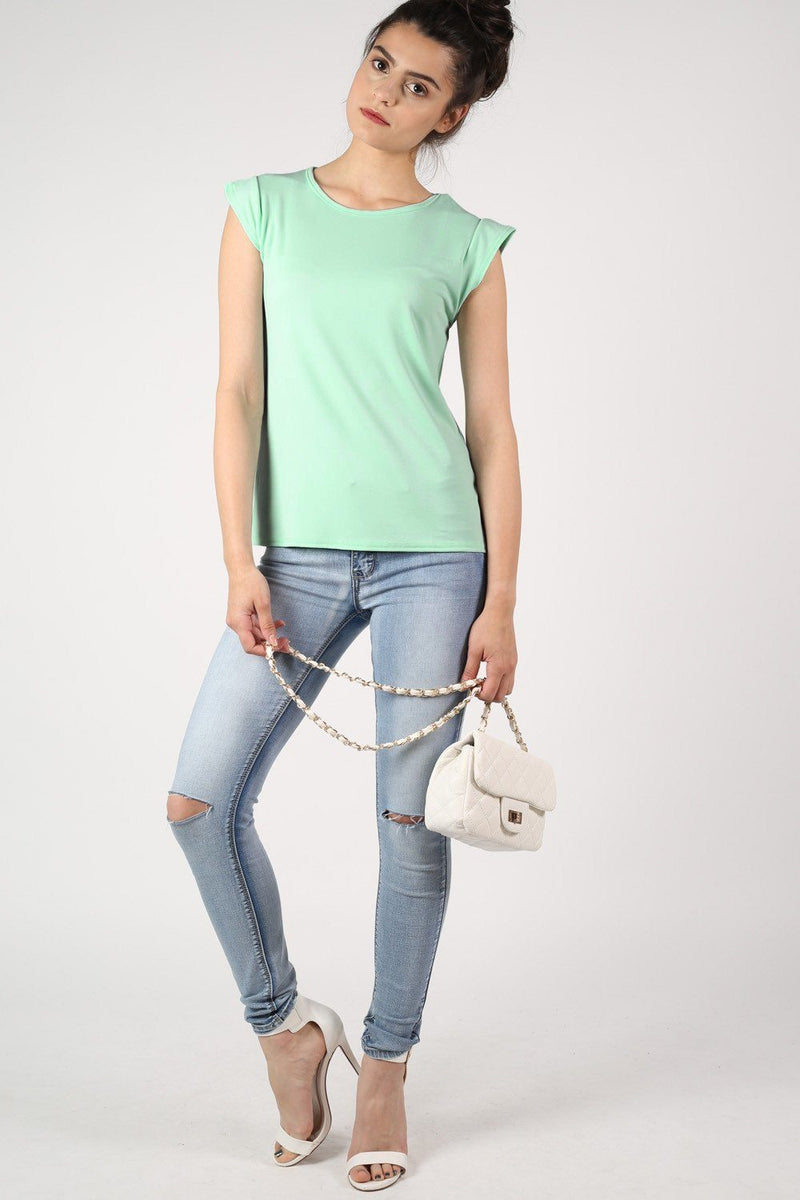 Fluted Cap Sleeve Top in Mint Green 4