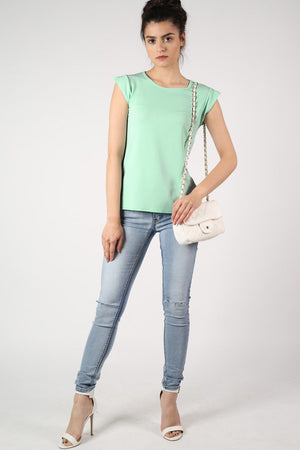 Fluted Cap Sleeve Top in Mint Green 5