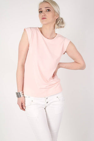 Fluted Cap Sleeve Top in Pale Pink 0