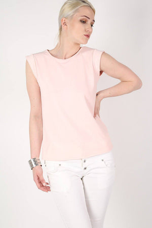 Fluted Cap Sleeve Top in Pale Pink 1
