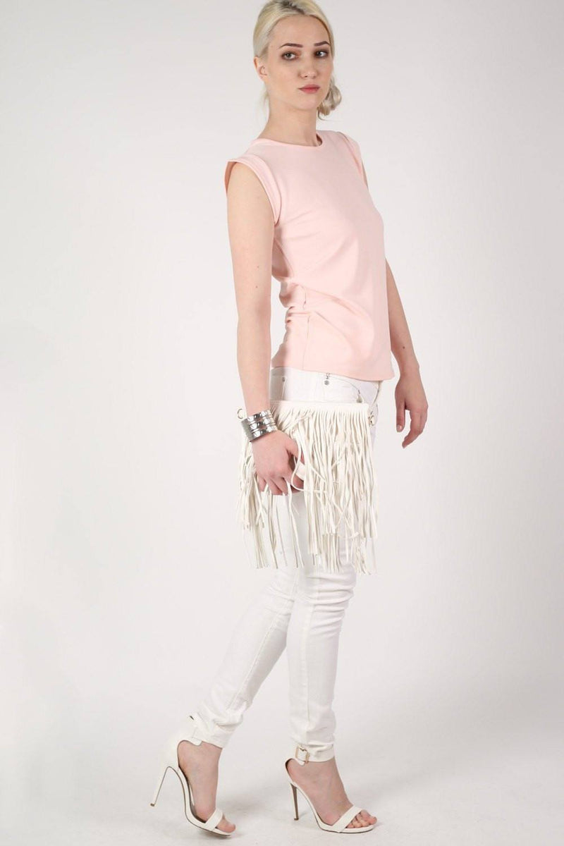 Fluted Cap Sleeve Top in Pale Pink 4