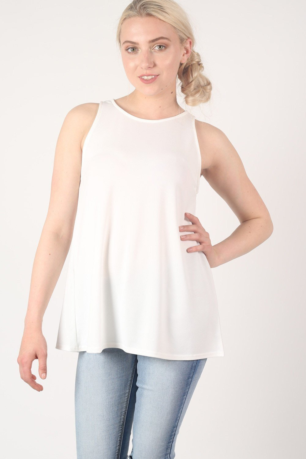 Sleeveless Split Back Top in Cream 1
