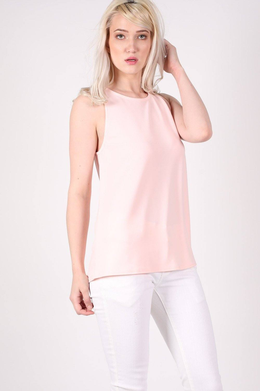 Sleeveless Split Back Top in Pale Pink 0