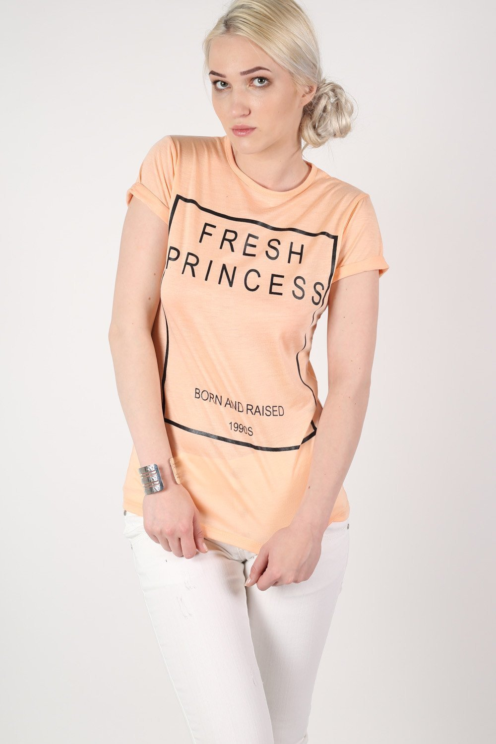 Fresh Princess Slogan T-Shirt in Nude 0