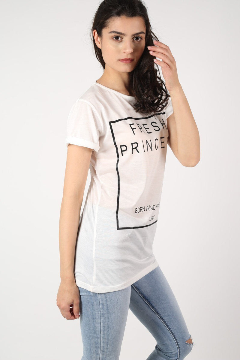 Fresh Princess Slogan T-Shirt in White 1