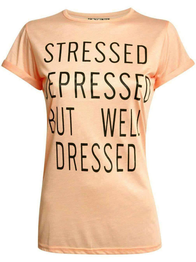 Well Dressed Slogan T-Shirt in Nude 2
