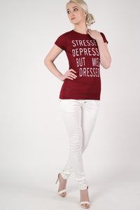 Well Dressed Slogan T-Shirt in Burgundy Red 4