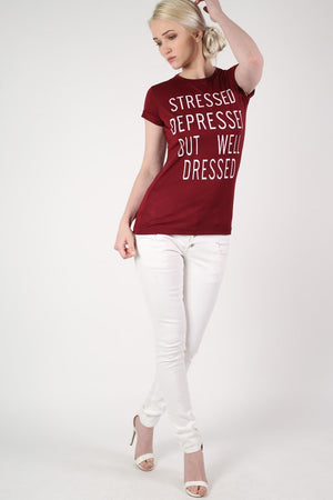 Well Dressed Slogan T-Shirt in Burgundy Red 5