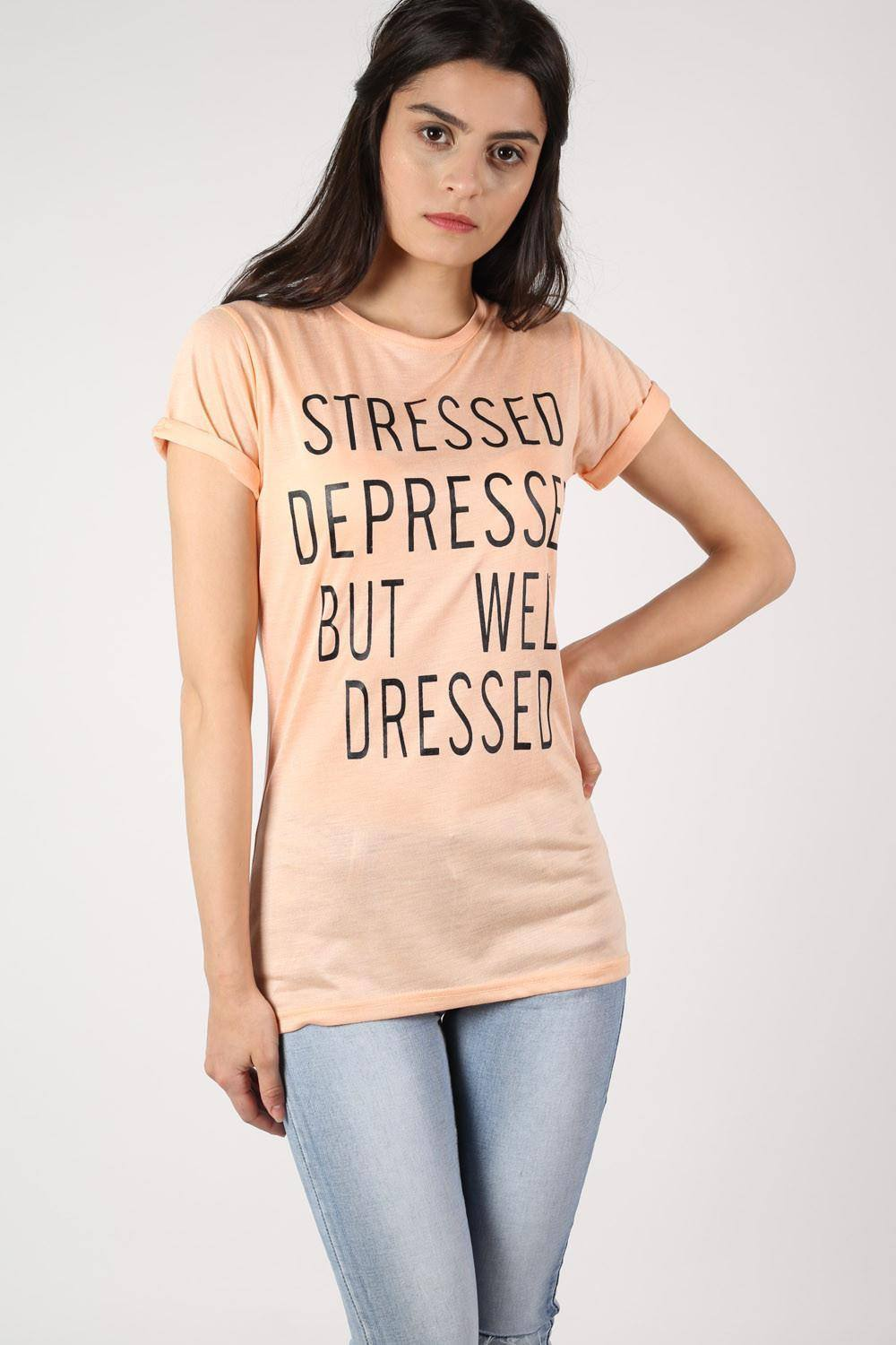 Well Dressed Slogan T-Shirt in Nude 0