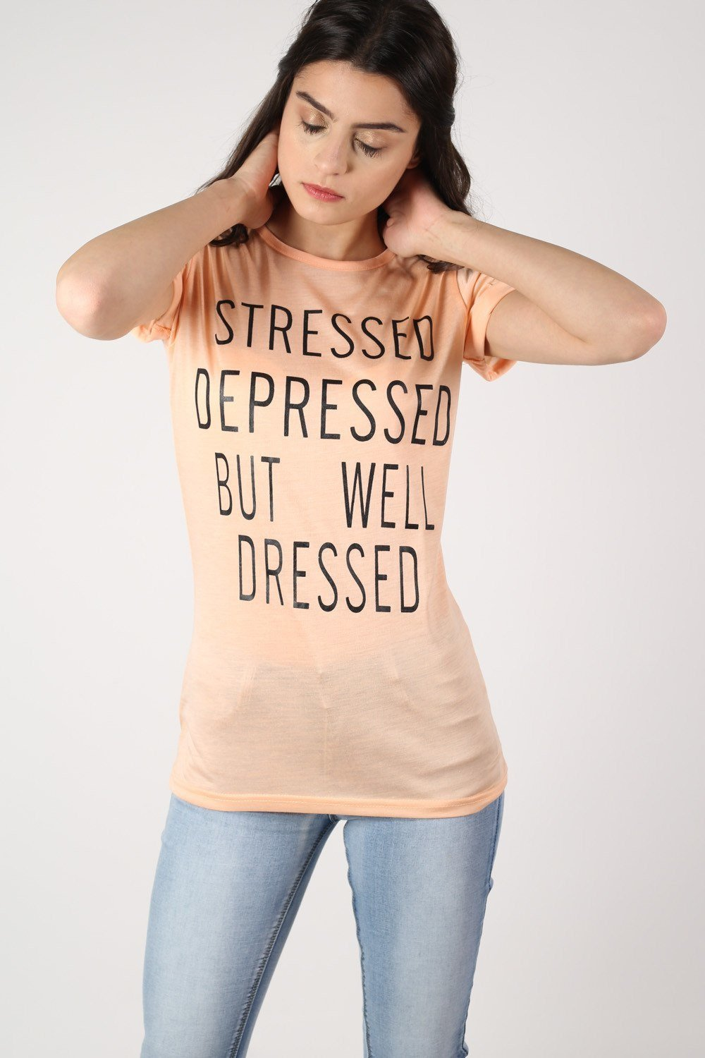 Well Dressed Slogan T-Shirt in Nude 1