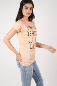 Well Dressed Slogan T-Shirt in Nude 3