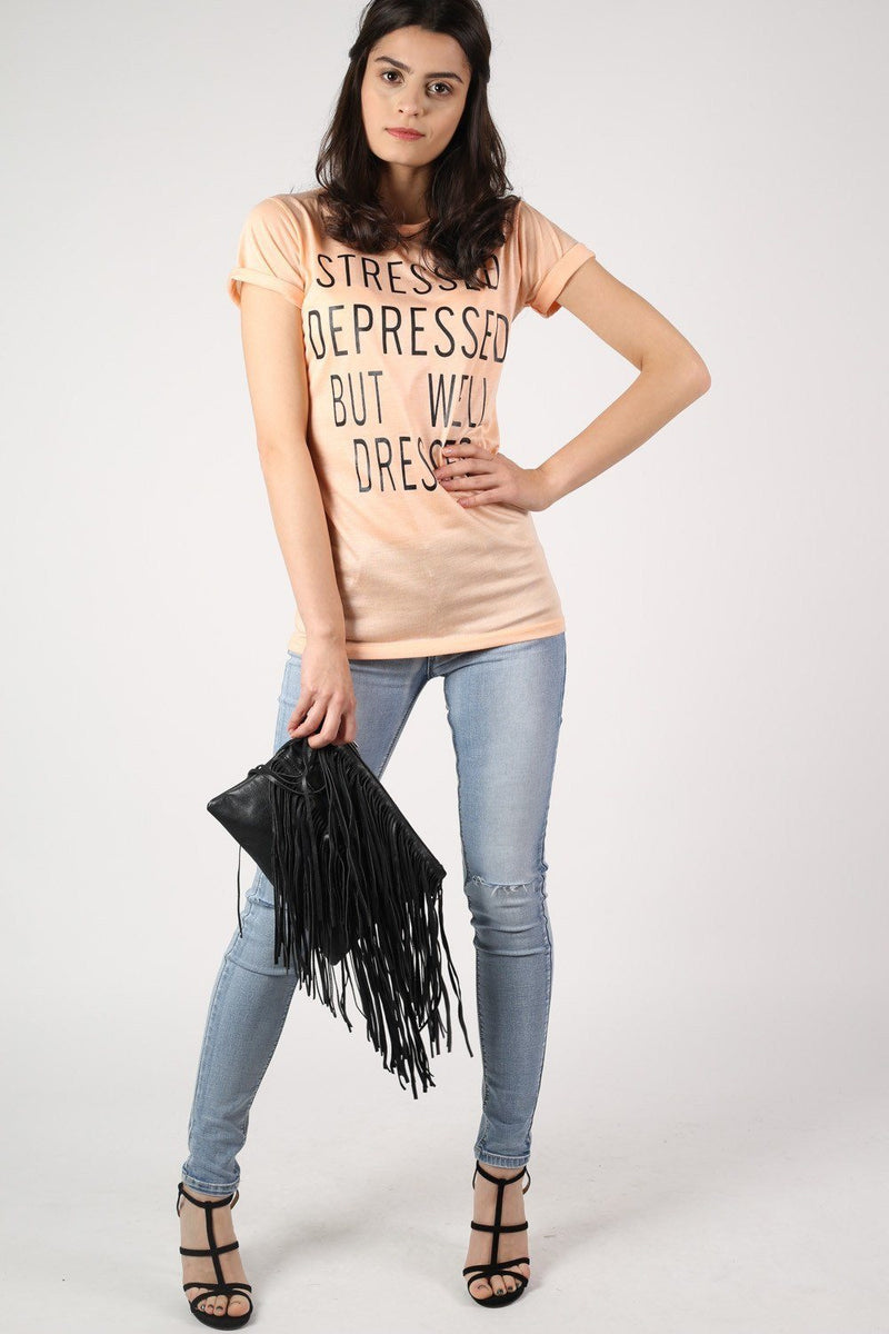 Well Dressed Slogan T-Shirt in Nude 5