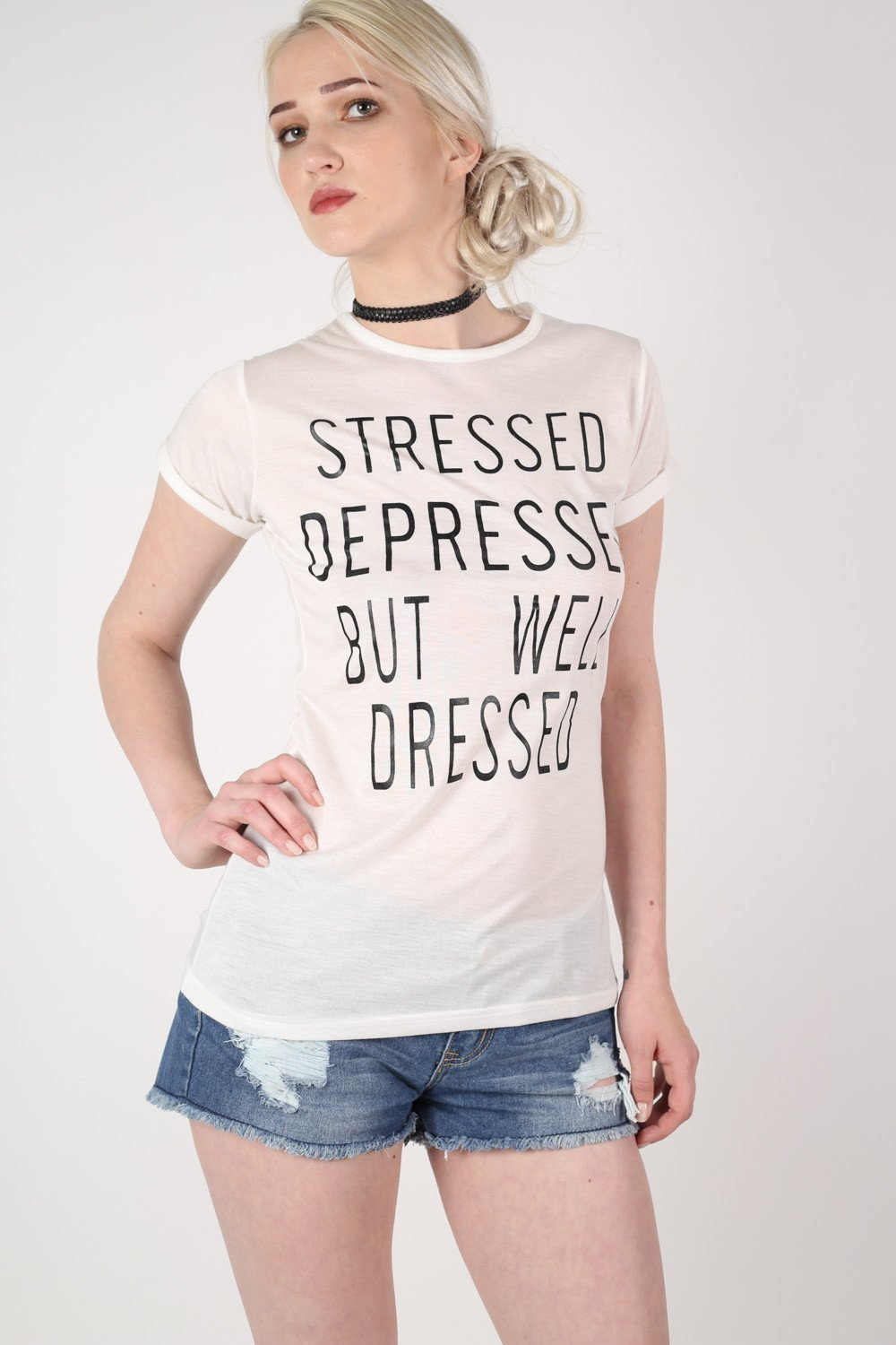 Well Dressed Slogan T-Shirt in White 0