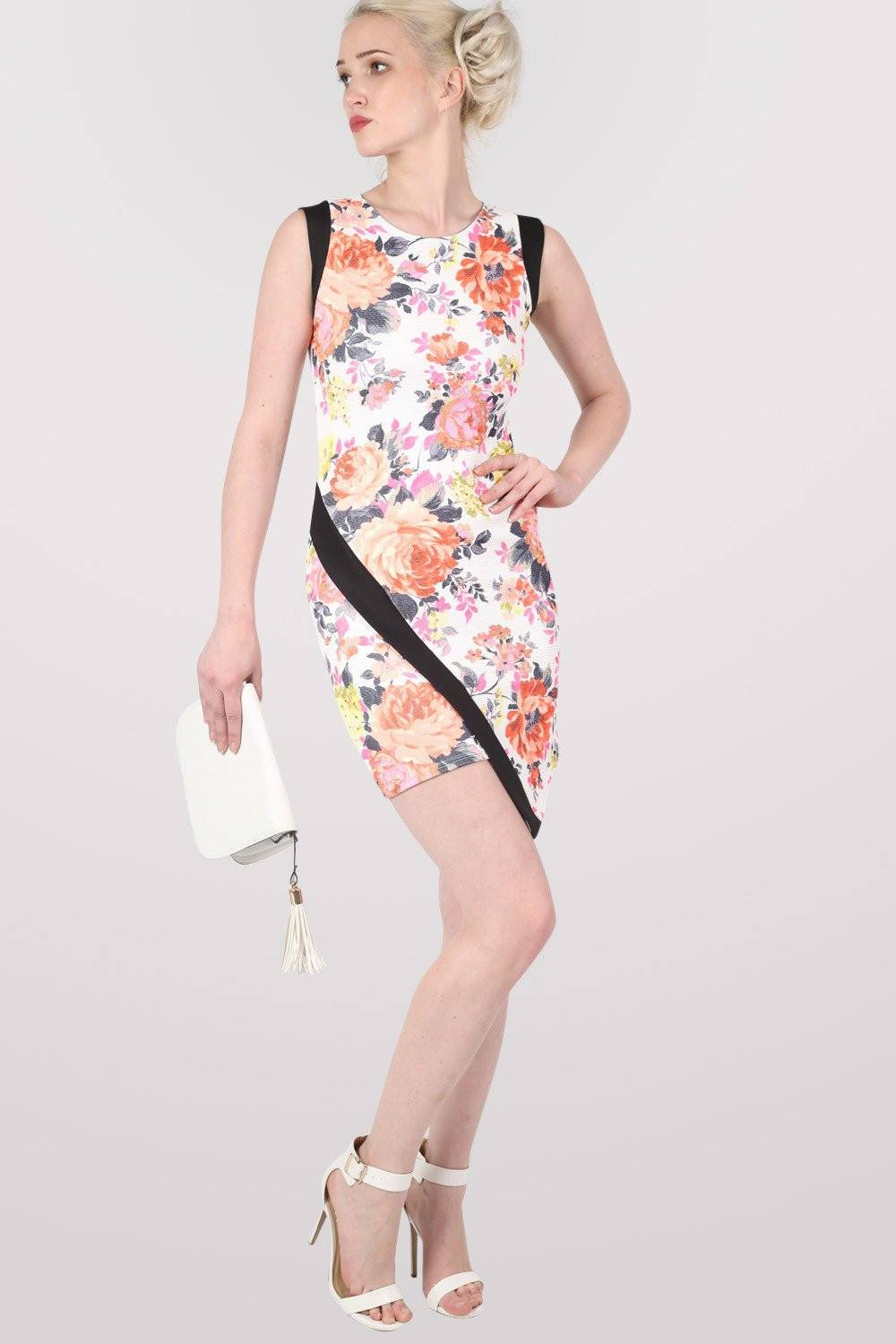 Asymmetric Floral Bodycon Dress 0