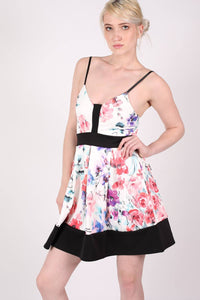 Strappy Floral Box Pleat Skater Dress MODEL FRONT