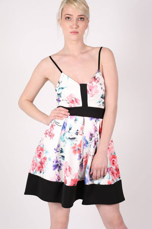 Strappy Floral Box Pleat Skater Dress MODEL FRONT 2