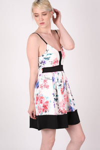 Strappy Floral Box Pleat Skater Dress MODEL SIDE