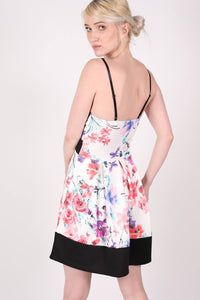 Strappy Floral Box Pleat Skater Dress MODEL BACK