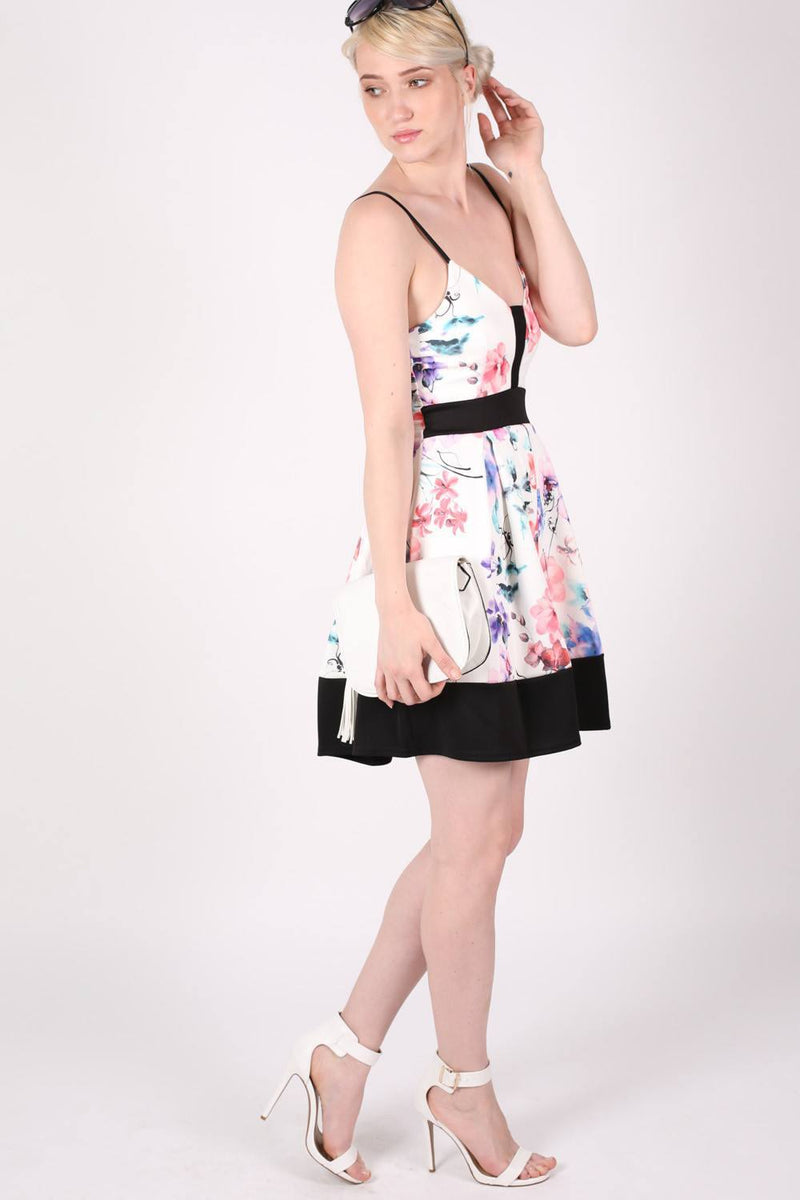 Strappy Floral Box Pleat Skater Dress MODEL SIDE 2