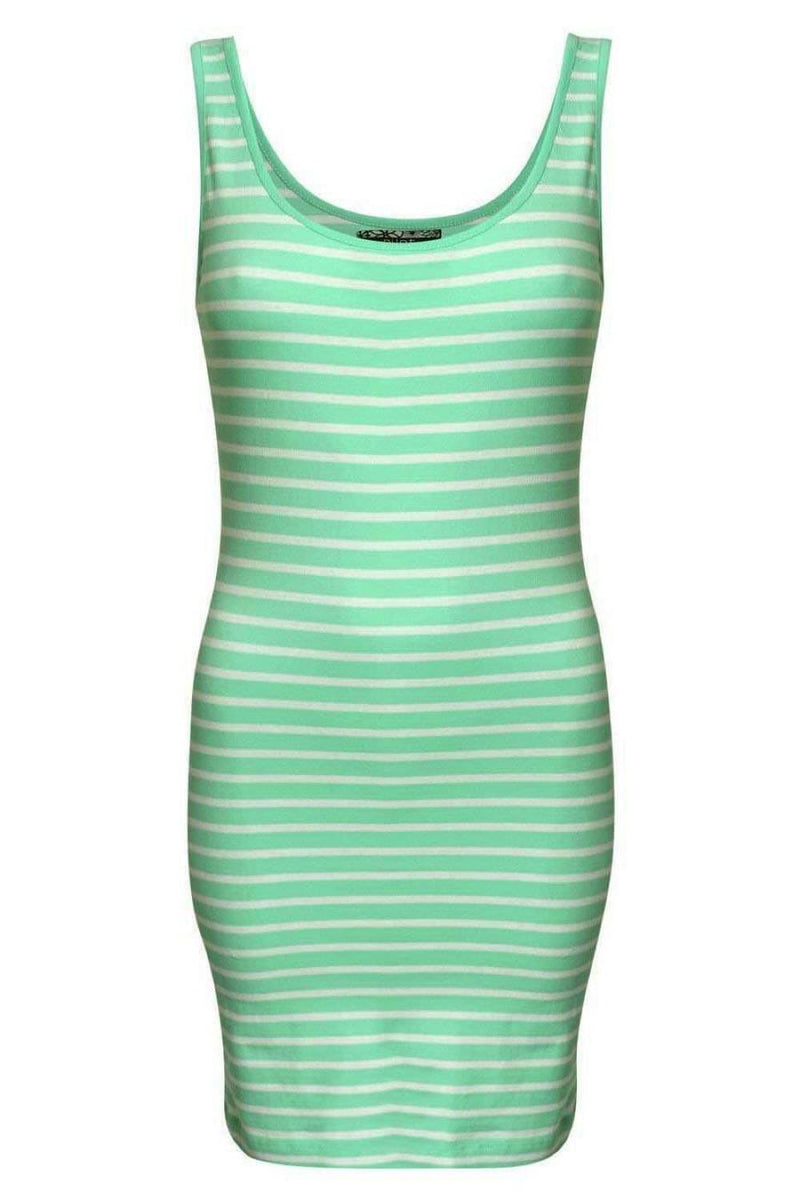 Sleeveless Stripe Mini Dress in Mint Green 2