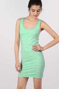 Sleeveless Stripe Mini Dress in Mint Green 1