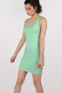 Sleeveless Stripe Mini Dress in Mint Green 3