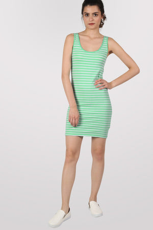 Sleeveless Stripe Mini Dress in Mint Green 5