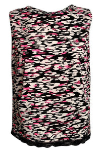 Abstract Print Lace Trim Top in Cerise Pink 2