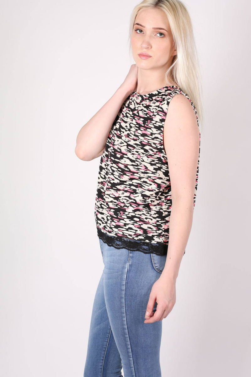 Abstract Print Lace Trim Top in Cerise Pink 0