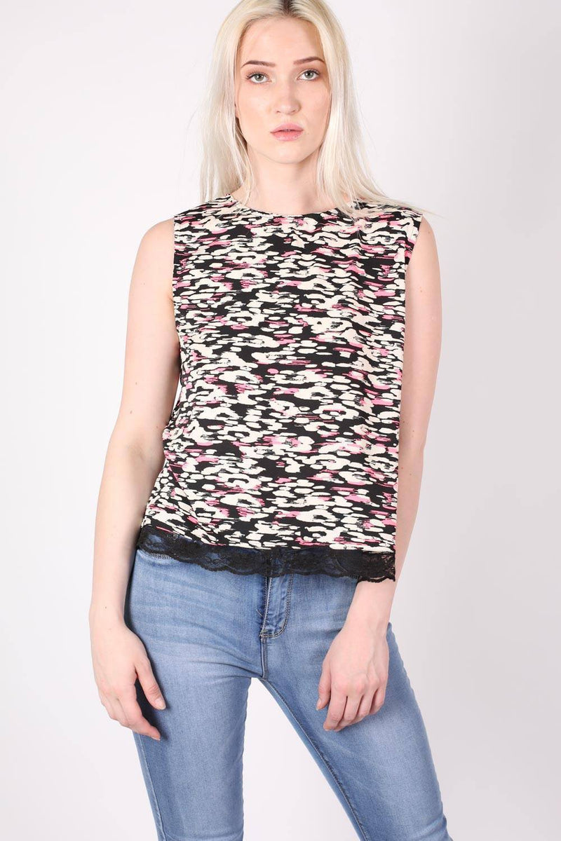 Abstract Print Lace Trim Top in Cerise Pink 1