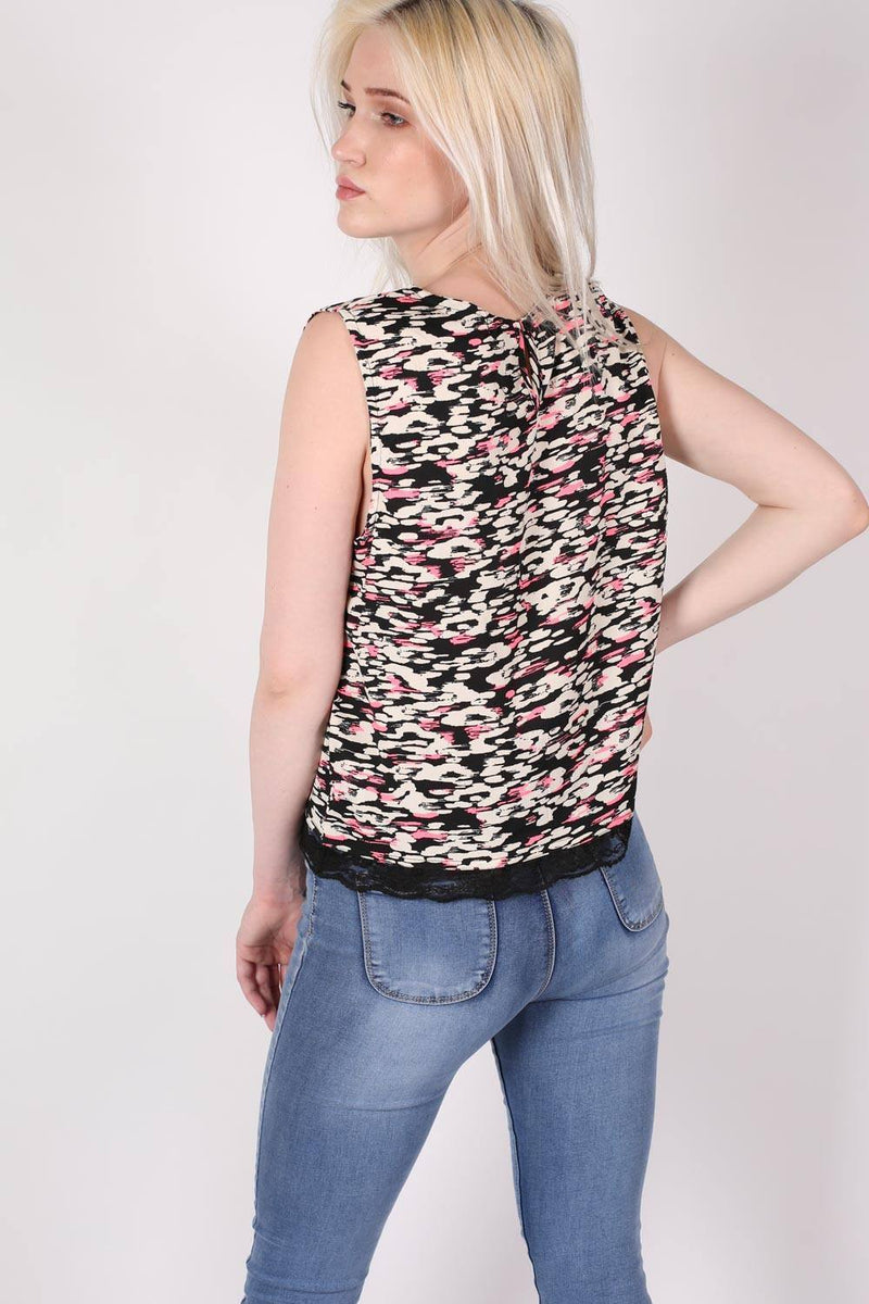 Abstract Print Lace Trim Top in Cerise Pink 3