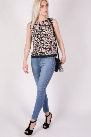 Abstract Print Lace Trim Top in Cerise Pink 4