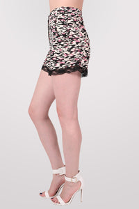 Abstract Print Lace Trim Shorts in Cerise Pink 3