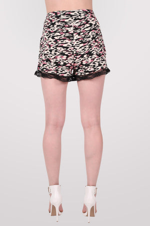 Abstract Print Lace Trim Shorts in Cerise Pink 4