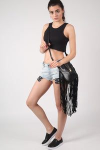 Sleeveless Ribbed Crop Vest in Black MODEL SIDE