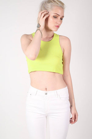 Sleeveless Ribbed Crop Vest in Lime Green 0
