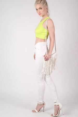 Sleeveless Ribbed Crop Vest in Lime Green 4