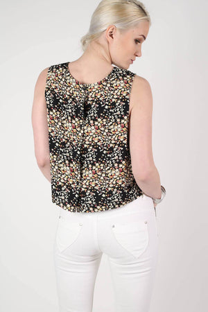 Floral Sleeveless Lace Trim Top in Black 3