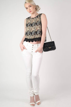 Floral Sleeveless Lace Trim Top in Black 5