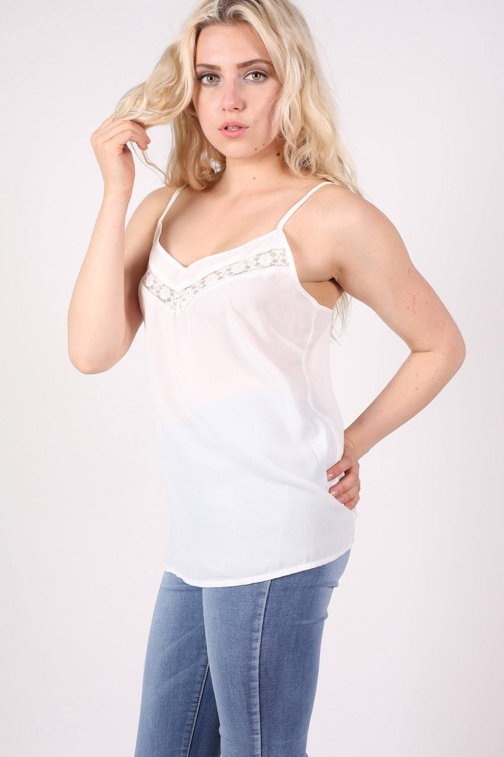 Lace Trim Cami Top in White 0