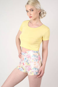 Floral Print Tube Shorts in White MODEL FRONT