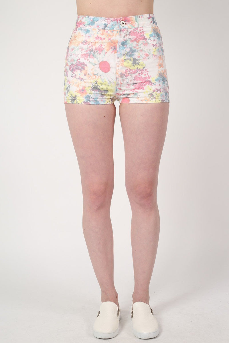 Floral Print Tube Shorts in White MODEL FRONT 2