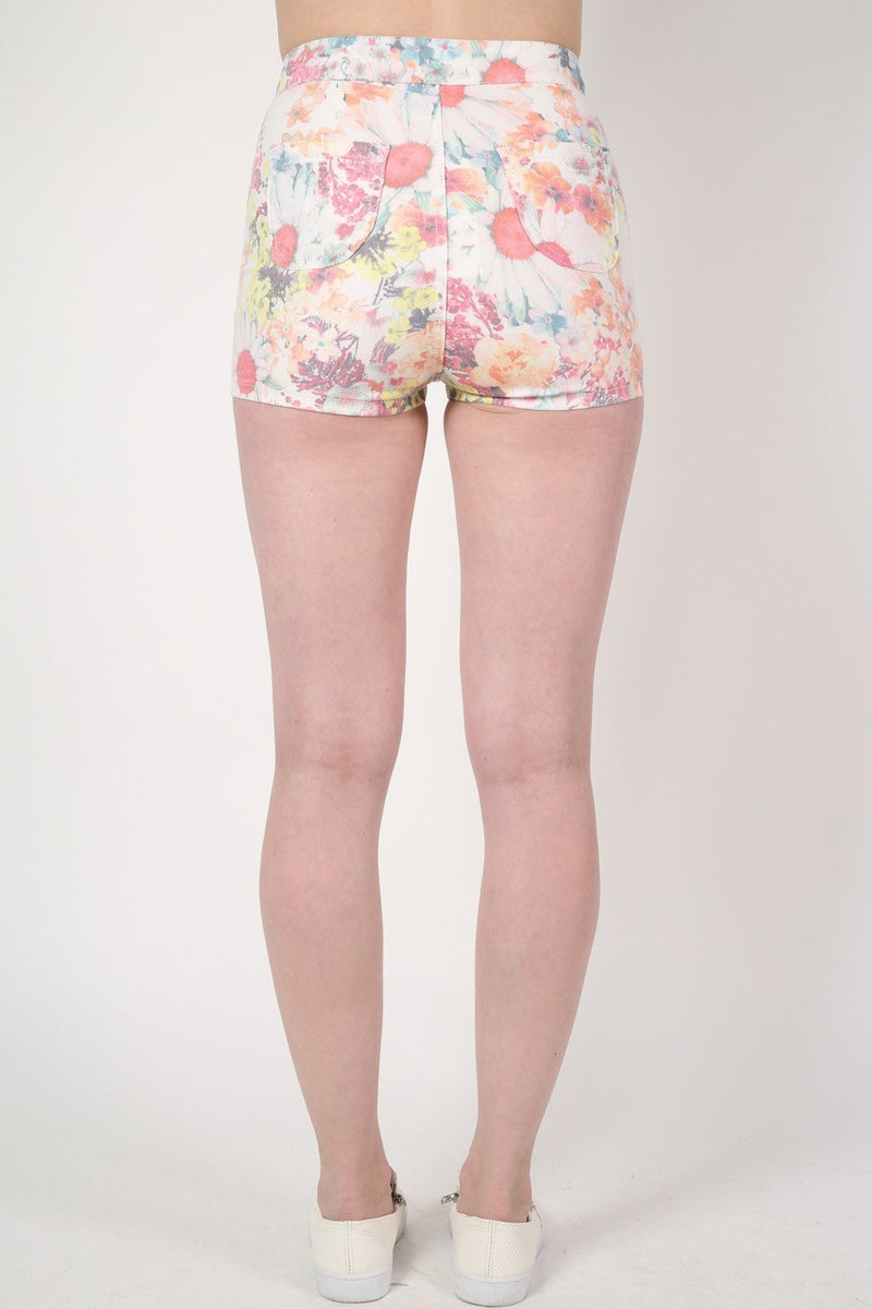 Floral Print Tube Shorts in White MODEL BACK