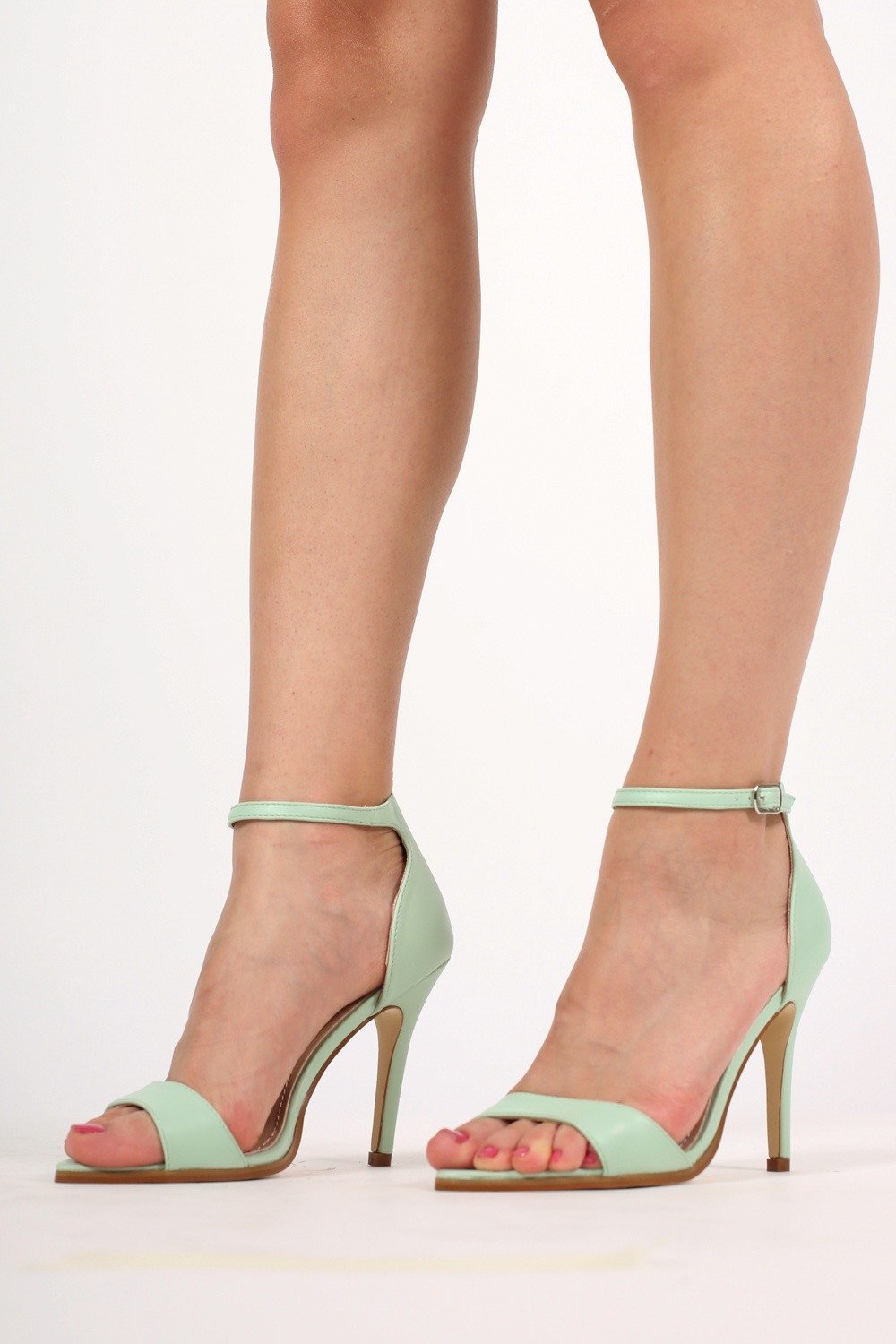 Maya Barely There Strappy High Heel Sandals in Mint Green MODEL FRONT