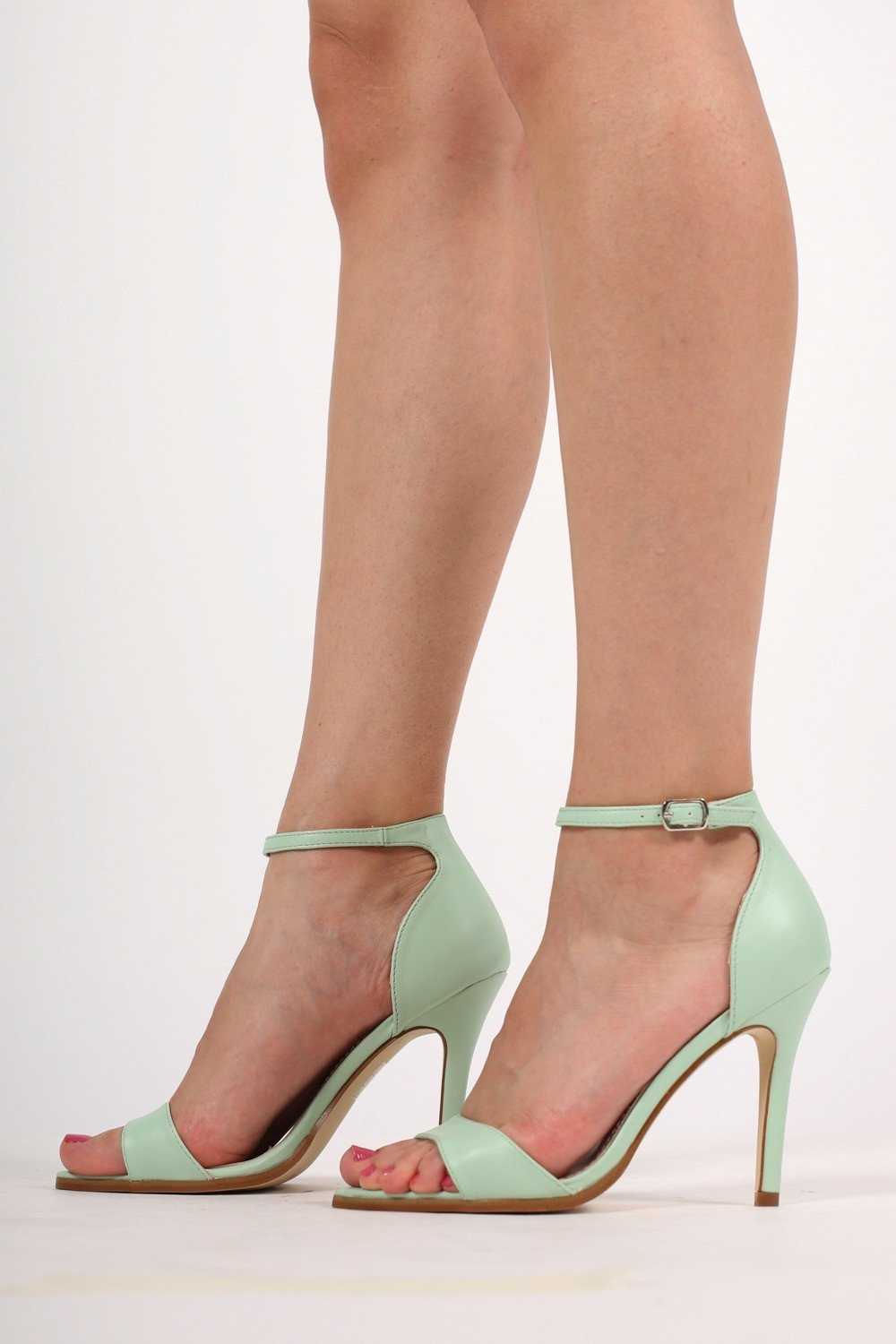 b551c360928d Maya Barely There Strappy High Heel Sandals in Mint Green MODEL SIDE